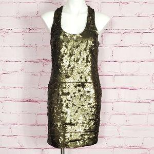 Robert Rodriguez Bronze Sequin Mini Dress